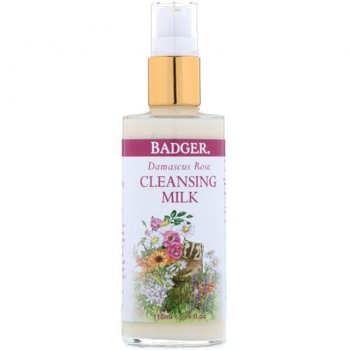 Badger Company, Дамасская роза, очищающее молочко, 4 жидких унции (118 мл)