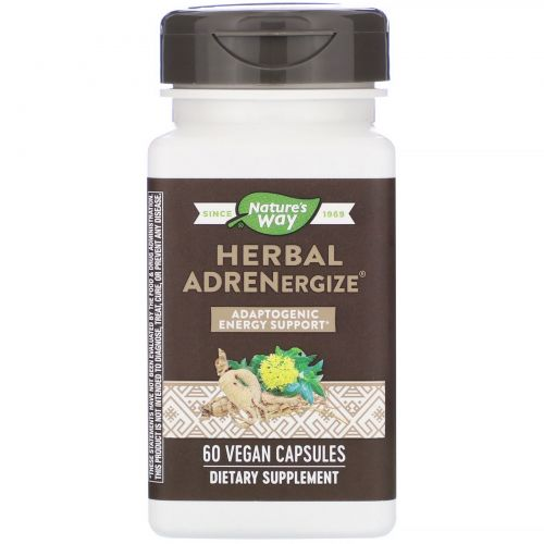 Enzymatic Therapy,  Adrenergize Травяной, 60 овощных капсул