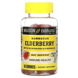 Mason Natural, Sambucus Elderberry with Echinacea & Propolis, Raspberry Flavor, 60 Gummies