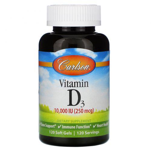 Carlson Labs, Витамин D3, 10000 МЕ, 120 мягких желатиновых капсул