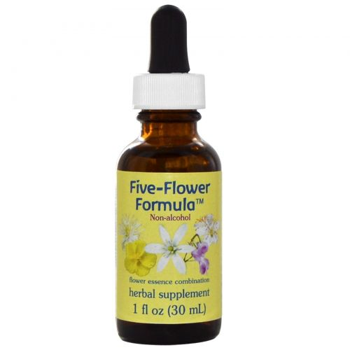 Flower Essence Services, Формула пять цветов, Цветочная эссенция, не содержащая спирта, 1 жидкая унция (30 мл)