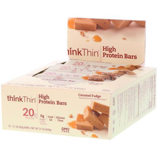 ThinkThin, High Protein Bars, Caramel Fudge, 10 Bars, 2.1 oz (60g) Each