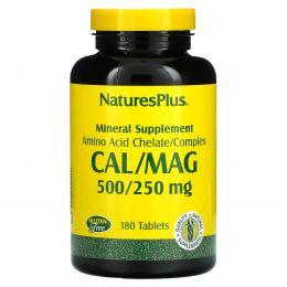 Nature's Plus, Минеральная добавка, кальций и магний, 500/250 мг, 180 таблеток