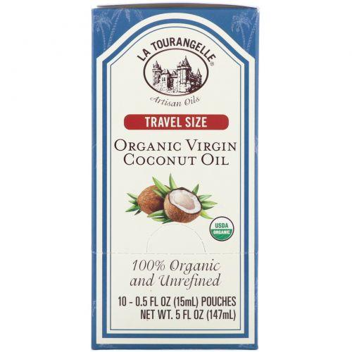 La Tourangelle, Размер для путешествия, органическое кокосовое масло, 10 саше, 0,5 ж. унц. (15 мл) каждый