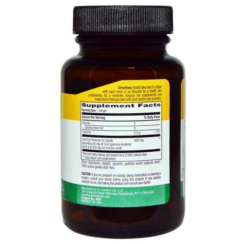 Country Life, Масло примулы вечерней, 500 мг, 60 желатиновых капсул