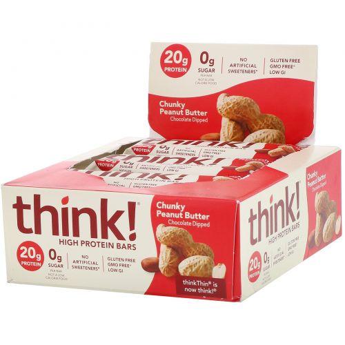 ThinkThin, Хрустящее арахисовое масло, 10 батончиков по 60 г