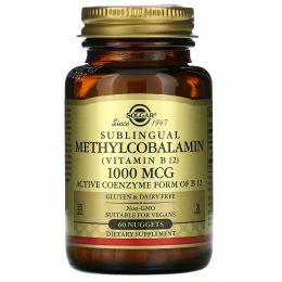 Solgar, Сублингвальный метилкобаламин (Витамин В12), 1000 мкг, 60 капсул