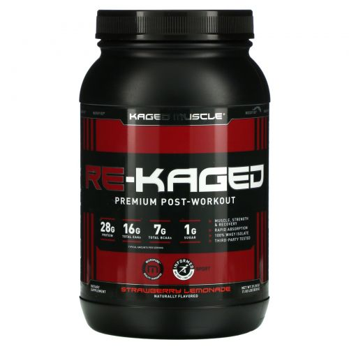 "KagedMuscle, ""Re-Kaged"", спортивное питание с анаболическим белком, со вкусом клубничного лимонада, 2,07 фунта (940 г)"
