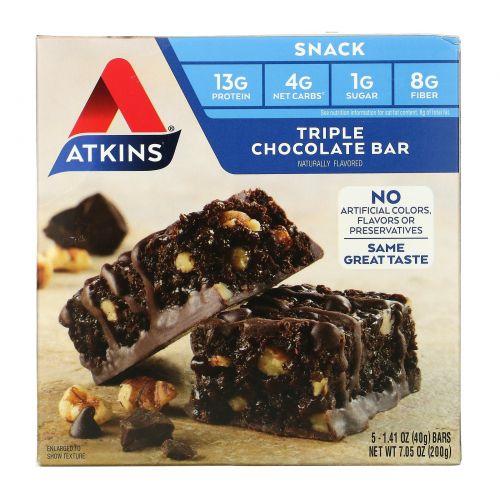 Atkins, Triple Chocolate Bar,  5 Bars, 1.41 oz (40 g) Each