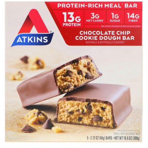 Atkins, Улучшенные, песочные батончики с кусочками шоколада, 5 батончиков, каждый по 2,12 унции (60 г)