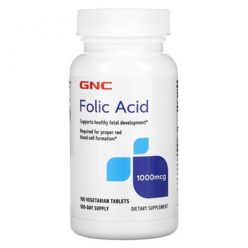 GNC, Folic Acid , 1,000 mcg, 100 Vegetarian Tablets