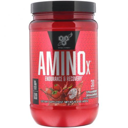 """BSN, """"Амино-X"""", средство для выносливости и восстановления со вкусом клубники и питайи, 15,3 унции (435 г)"""