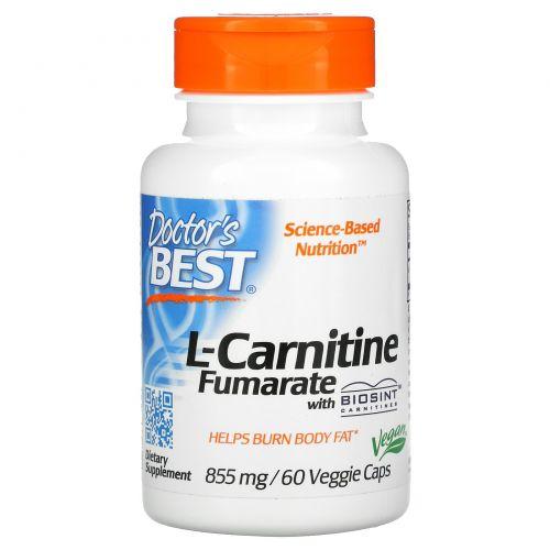 Doctor's Best, L-карнитин фумарат, 855 мг, 60 капсул в растительной оболочке