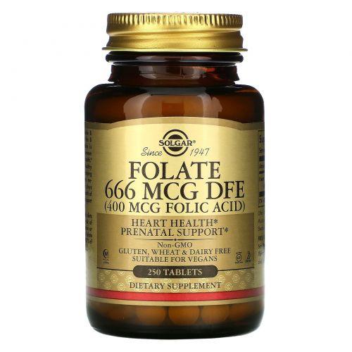 Solgar, Фолат, 666 мкг DFE, 250 таблеток