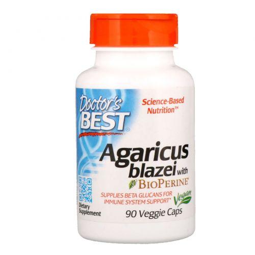 Doctor's Best, Агарик бразильский с Bioperine, 90 вегетарианских капсул