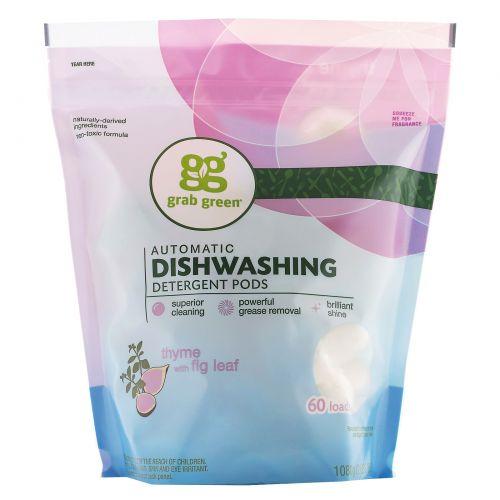 GrabGreen, Моющее средство для посудомоечных машин, Тимьян и лист инжира, 2 фунта, 4 унции (1080 г)