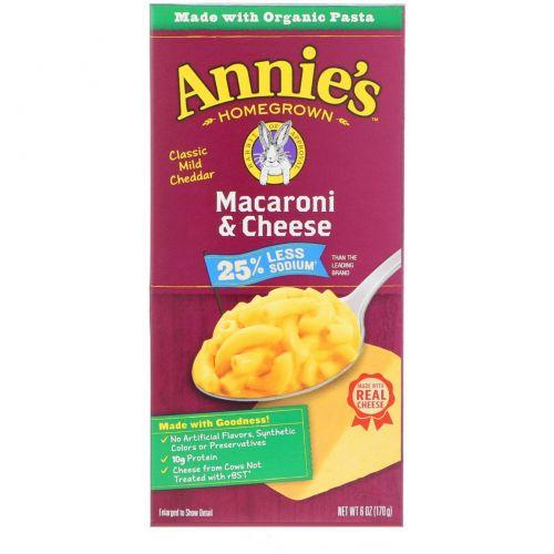 Annie's Homegrown, Органические макароны с сыром с низким содержанием соли, 6 унций (170 г)