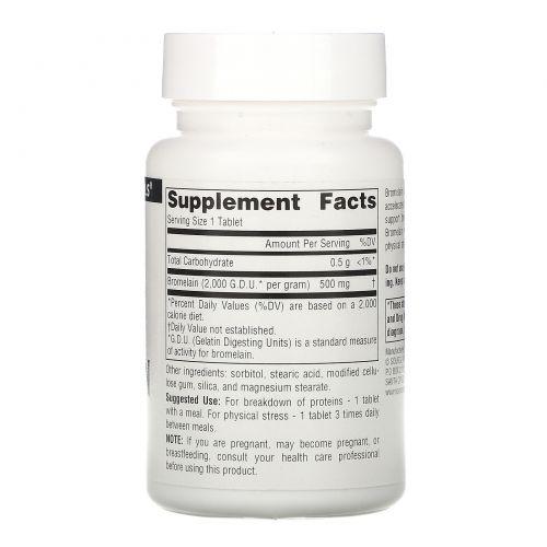 Source Naturals, Бромелаин, 2000 GDU/г, 500 мг, 60 таблеток