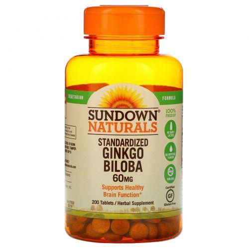 Sundown Naturals, Гинкго двулопастный, 60 мг, 200 таблеток