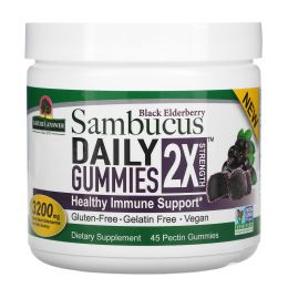 Nature's Answer, Black Elderberry Sambucus Daily Gummies, 2X Strength, 3,200 mg, 45 Pectin Gummies