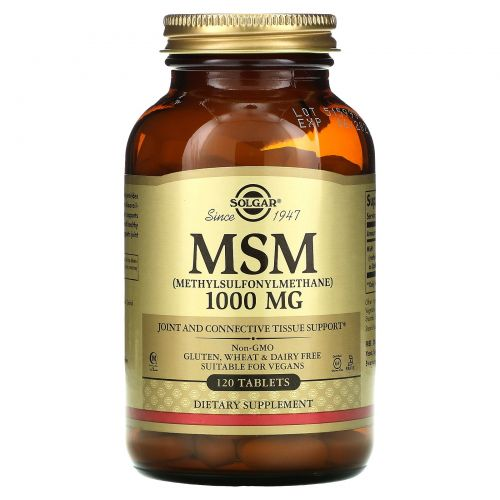 Solgar, МСМ (Метилсульфонилметан) 120 таблеток