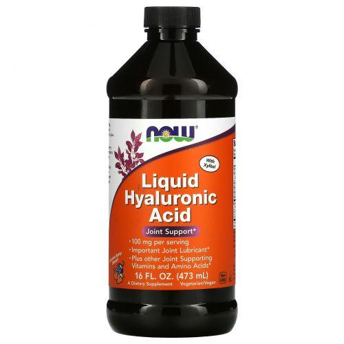 Now Foods, Жидкая гиалуроновая кислота, ягодный вкус, 100 мг, 16 жидких унций (473 мл)