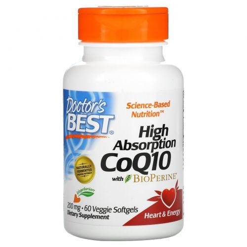 Doctor's Best, Кофермент Q10 с высокой степенью усваивания и биоперином, 200 мг, 60 вегетарианских мягких желатиновых капсул