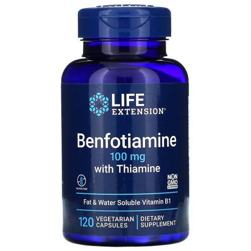 Life Extension, Бенфотиамин, с тиамином, 100 мг, 120 растительных капсул