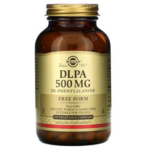 Solgar, DLPA, свободная форма, 500 мг, 100 вегетарианских капсул