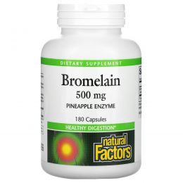 Natural Factors, Бромелаин, 500 мг, 180 капсул