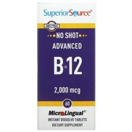Superior Source, Улучшенный B-12, 2,000 мкг, 60 микролигвальных быстрорастворимых таблеток