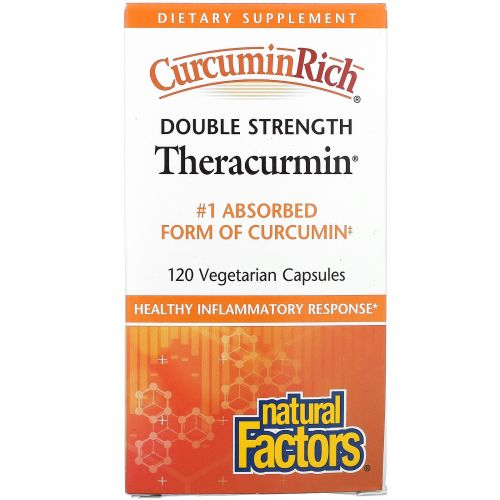 Natural Factors, CurcuminRich, Double Strength Theracurmin, 120 Vegetarian Capsules