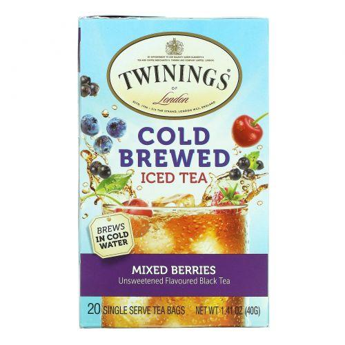Twinings, Холодный чай, ягодная смесь, 20 чайных пакетиков, 40 г (1,14 oz)