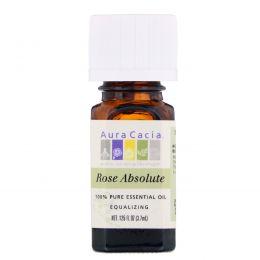 Aura Cacia, 100% чистое эфирное масло, абсолют розы, 0,125 ж. унц. (3,7 мл)