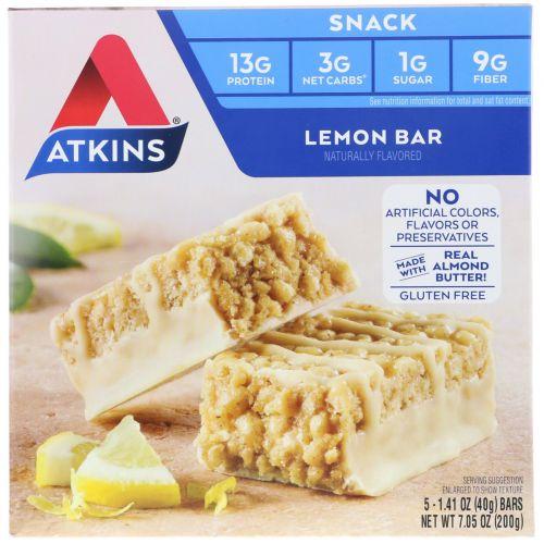 Atkins, Лимонный батончик, 5 батончиков, 1,41 унц. (40 г) каждый