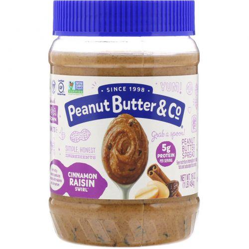 Peanut Butter & Co., Корично-изюмовый свирл, Арахисовое масло, смешанное с корицей и изюмом, 16 унций (454 г)