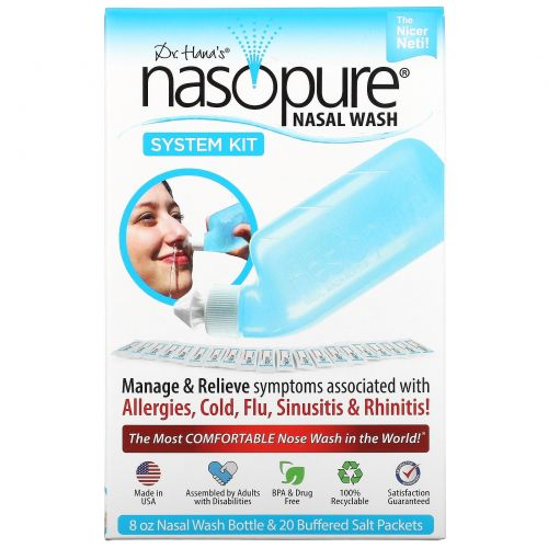 Nasopure, Система для промывания носа, набор с системой, 1 набор