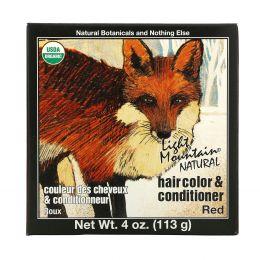 Light Mountain, Органическая натуральная краска для волос и кондиционер, красный, 4 унции (113 г)