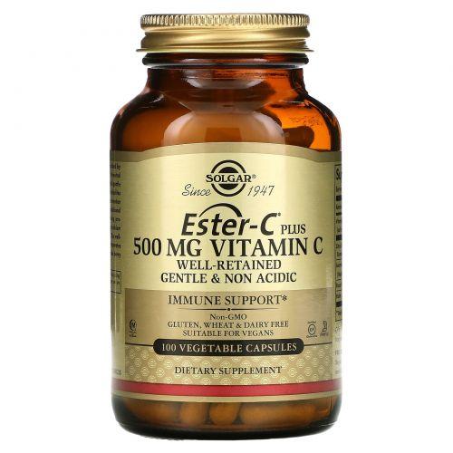 Solgar, Ester-C Plus, 500 мг витамина C, 100 вегетарианских капсул