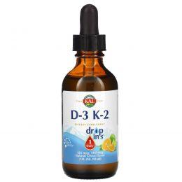 KAL, Drop Ins, витамины D-3 и K-2, натуральный цитрусовый вкус, 2 ж. унц. (59 мл)