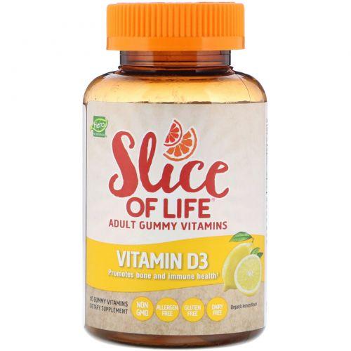 Hero Nutritional Products, Slice of Life, жевательные витамины для взрослых, витамин D3, аромат натурального лимона, 60 жевательных таблеток