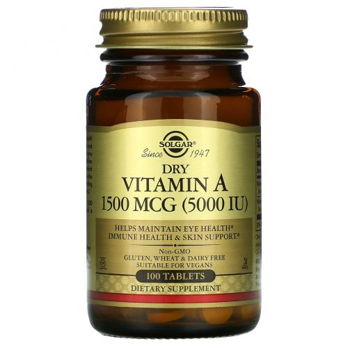 Solgar, Витамин А сухой, 5000 МЕ, 100 таблеток