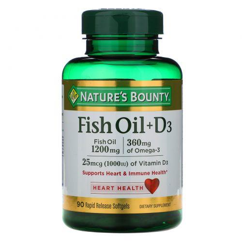 Nature's Bounty, Рыбий жир + D3 90 гелевых капсул