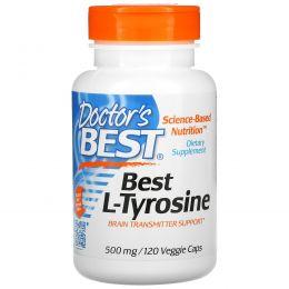 Doctor's Best, L-тирозин, 500 мг, 120 вегетарианских капсул