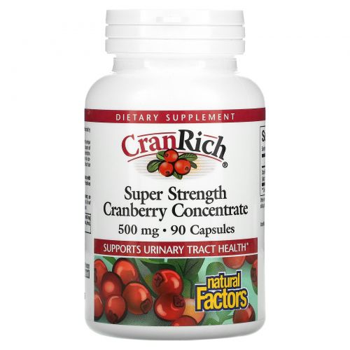 Natural Factors, CranRich, Клюквенный супер концентрат, 500 мг, 90 капсул