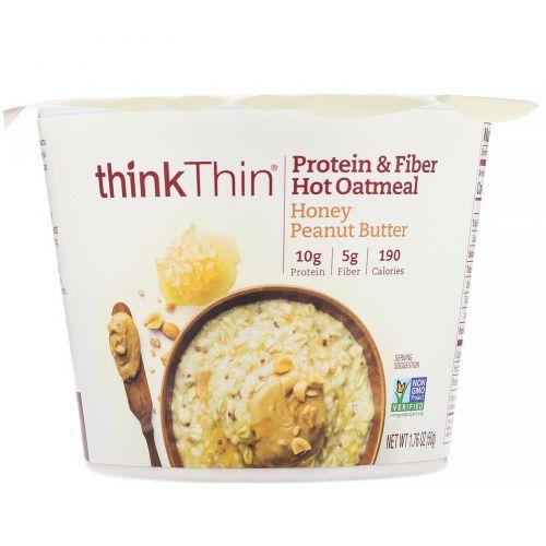 ThinkThin, Овсянка с протеинами и клетчаткой для приготовления горячих блюд, арахисовая паста с медом, 50г (1,76унции)
