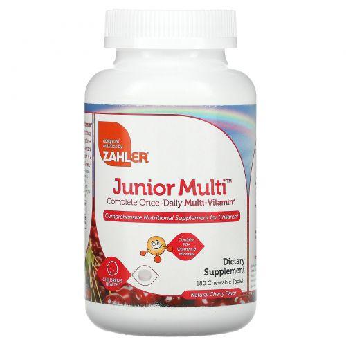 Zahler, Junior Multi, Полный набор мультивитаминов всего в 1 таблетке в день, Натуральный вишневый вкус, 180 жевательных таблеток