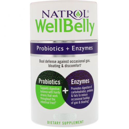 Natrol, WellBelly, Пробиотики + ферменты, 30 капсул