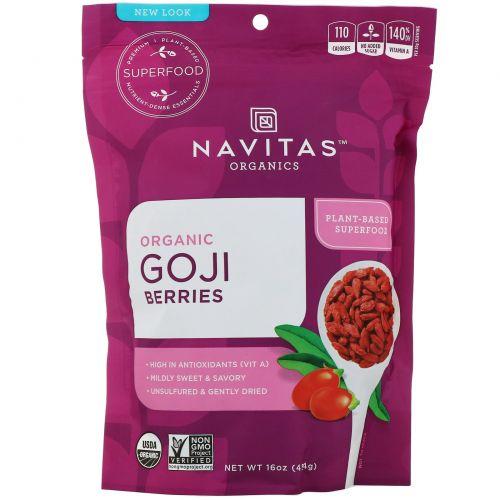 Navitas Organics, Organic, ягоды годжи, высушенные на солнце, 16 унций (454 г)