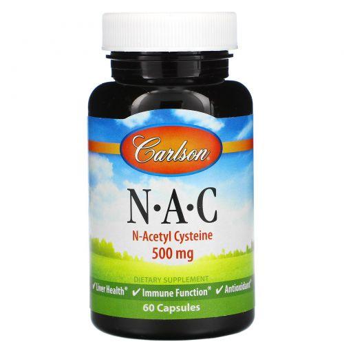 Carlson Labs, N·A·C, N-ацетилцистеин, 500 мг, 60 капсул
